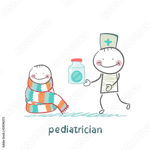 pediatrician giving medicine to a child