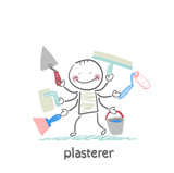 plasterer holds a lot of tools to work