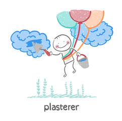 plasterer flying balloons and works with cloud