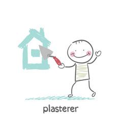 plasterer paints cement house
