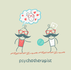 psychotherapist  gives the patient a pill