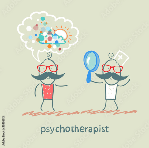 psychotherapist  looking through a magnifying glass