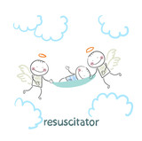 resuscitator carry on a stretcher patient poster