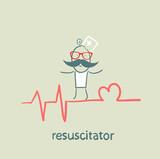 resuscitation is on the line showing the beating of the heart poster