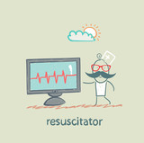 resuscitation is a monitor shows the heartbeat poster