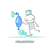 resuscitation with oxygen mask poster