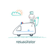 resuscitator rides in the ambulance poster