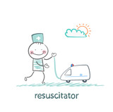 resuscitator played with toy ambulance poster