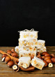 Turron or nougat sweets background, your text here