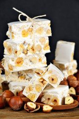 Turron or nougat artisan sweets, italian typical dessert.