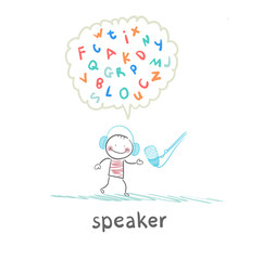 speaker is talking into a microphone and thinks of Letters