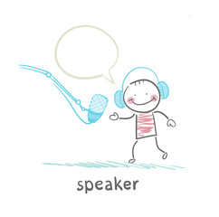 speaker in headphones speaks into a microphone