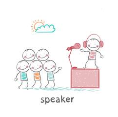 speaker of the headphones tells people