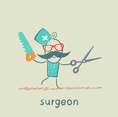 Surgeon holding a saw and scissors