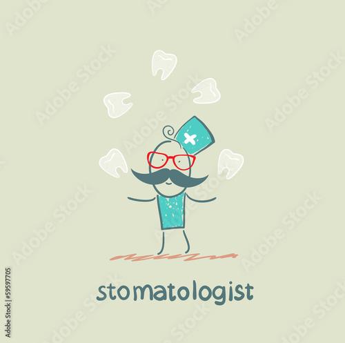 stomatologist juggles  teeth