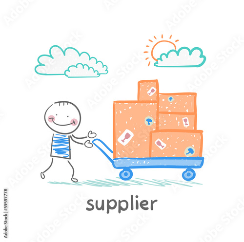 supplier walks with a cart of goods