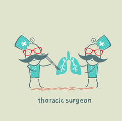 thoracic surgeon with a scalpel works on light