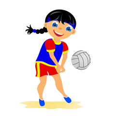 Girl plays volleyball