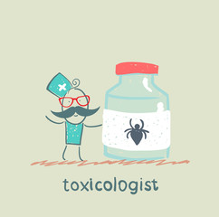 Toxicologist holds a jar of medicine from poison spiders