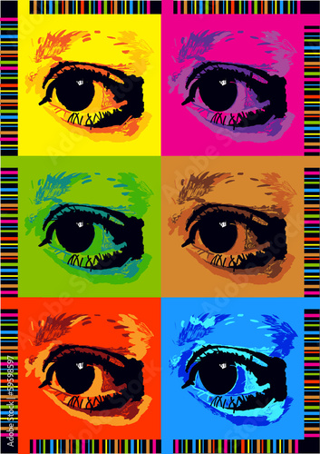 retro pop art poster with eyes