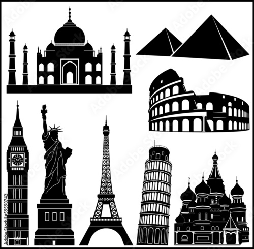 World wonders vector collection