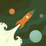 Fototapety Launch of space rocket. Vector illustration.