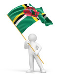 Man and Dominica flag (clipping path included)