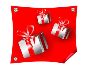 Подарки на красном фоне. Распродажа