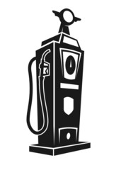 Silhouette of retro gas pump. Vector illustration.
