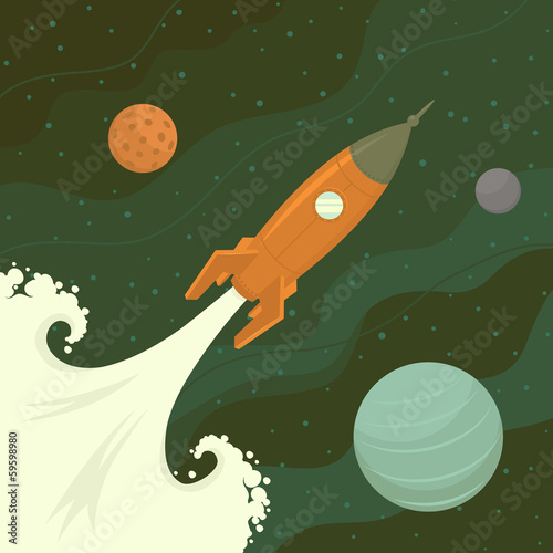 Launch of space rocket. Vector illustration.