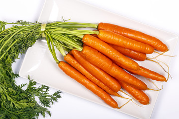 Freshly washed whole carrots
