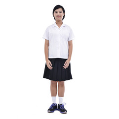 girl wearing black and white school uniform