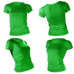 women's blank green t-shirt template
