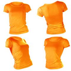 women's blank orange t-shirt template