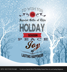 eps Vector image:Holiday Season Peace Joy and Lasting Happiness