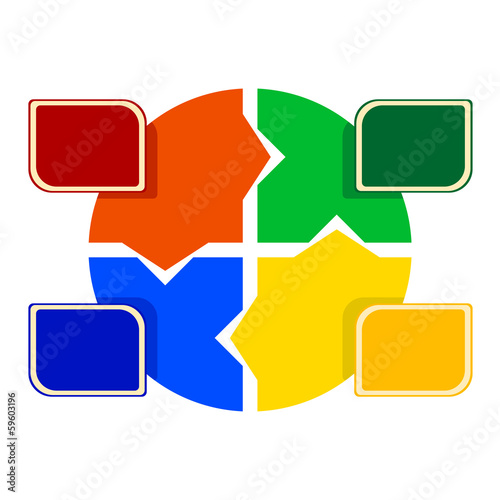 illustration of colored round puzzle with colored labels in fron