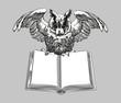 Education emblems. Owl on a book.