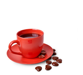 Mug with coffee and chocolate in the shape of heart