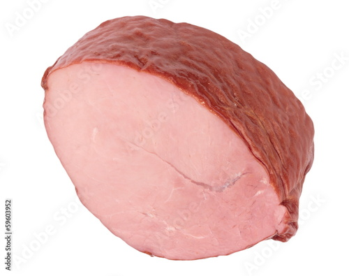 Piece of Boiled and Smoked Meat Isolated