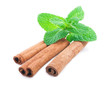 Cinnamon and mint isolated .