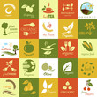 Organic Icons Set - Isolated On White Background