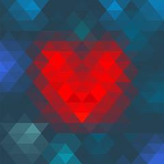 Vector Geometric Mosaic Heart for Valentines Day Design