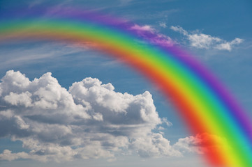 rainbow in the clouds.