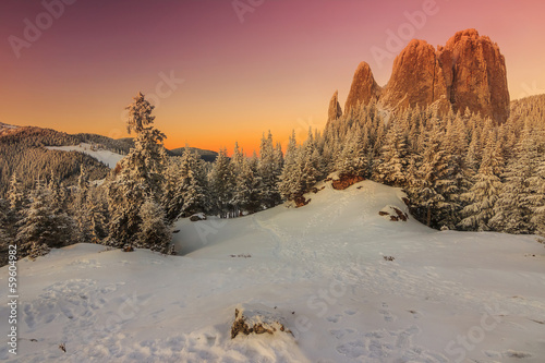 Amazing sunset and magical landscape,Lonely Rock,Carpathians