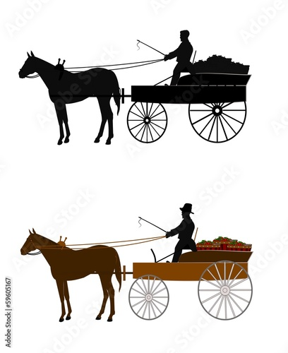 man riding buckboard wagon to market