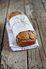 Rye rogenbrod pund loaf bread with seeds and whole grains