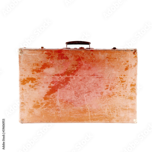 Retro wooden suitcase. Isolated on white background.