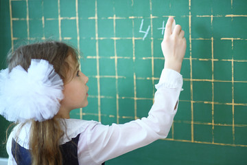 Pupil writing an example on a school chalkboard