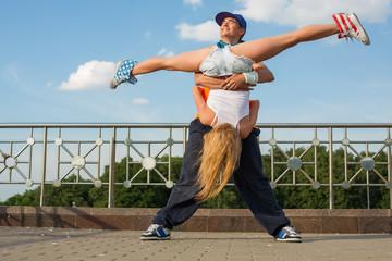 people dancing modern dance in street