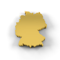 Germany map 3D gold with clipping path